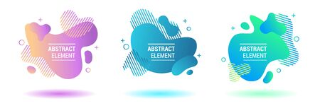 Set of abstract design elements. Buble web template. Gradient banners with flowing liquid shapes. Background for text, web page, banner, presentation, social media.