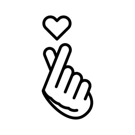 Finger Heart line color icon. Music record K-POP concept. Korean culture. Pictogram for web, mobile app, promo. UI UX design element. Editable stroke.
