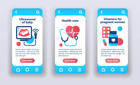 Maternal and child health on mobile app onboarding screens. Medical examination. of a pregnant. Flat icons, ultrasound of baby, health care, vitamins on samples. Banners for website and mobile kit. Illusztráció