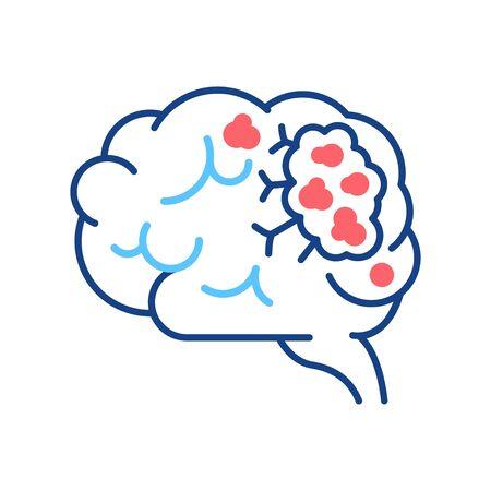 Icône de couleur de ligne de cancer du cerveau. Concept d'organe humain. Tumeur maligne.