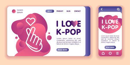 I love K-pop web banner and mobile app kit. Cross platform. Ilustrace