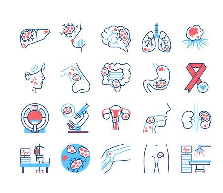 Ensemble d'icônes de couleur de ligne d'organes différents du cancer. Concept de diagnostic médical en oncologie. Néoplasmes malins. Cancer du sein, du cerveau, du foie, de l'estomac, du nez, du col de l'utérus, des poumons, de la prostate, des os
