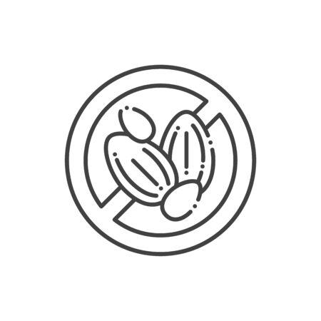 Seeds free line color icon. Allergenic ingredient. Food intolerance. Illustration