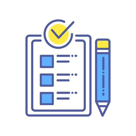 Approved checklist color line icon. Check mark list, office organization briefings or questionnaire checkbox concept. Ilustração