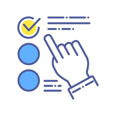 Approved choice on checklist color line icon. Make right decision concept.