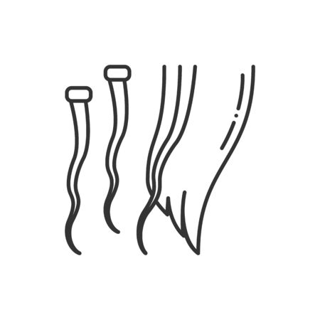 Hair extension black line icon. Hairdresser services. Professional hair styling. Beauty industry. Pictogram for web page, promo.