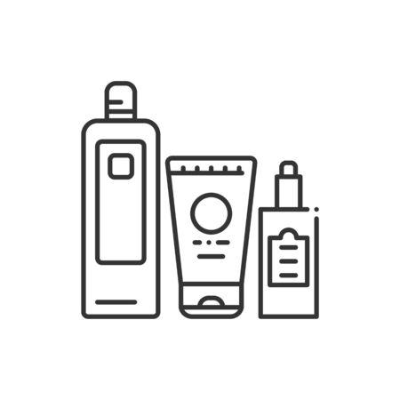 Comprehensive hair care black line icon. Cosmetic products: shampoo, conditioner, oil. Beauty industry. Illustration