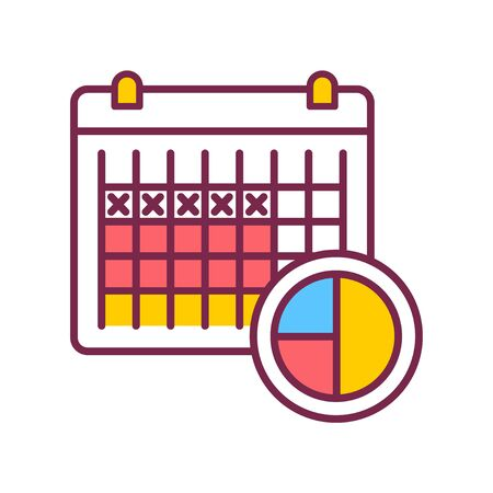 Ovulation calendar with marks days. Contraception method. Menstrual cycle. Birth control. Safety sex sign. Pictogram for web page, mobile app.
