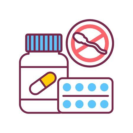 Oral contraceptive medicine in a jar color line icon. Women contraceptive hormonal birth control pills. Illusztráció