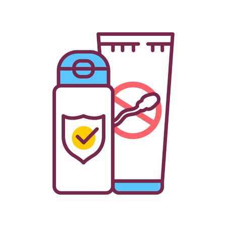 Spermicide tube color line icon. Women contraceptive. Birth control. Safety sex sign.