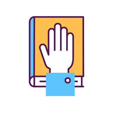 Give oath line color icon. Palm on Holy Bible. Judiciary concept.