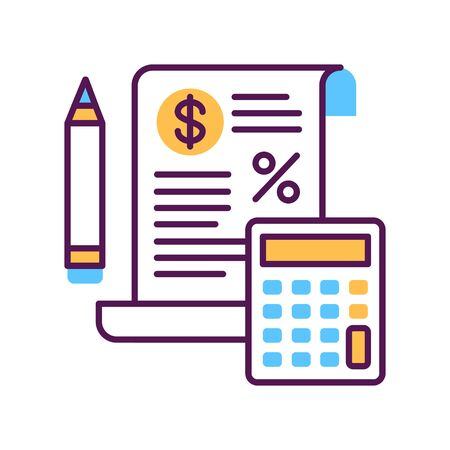 Tax government calculation vector color line icon. Report and financial statements. Bookkeeping and accounting.