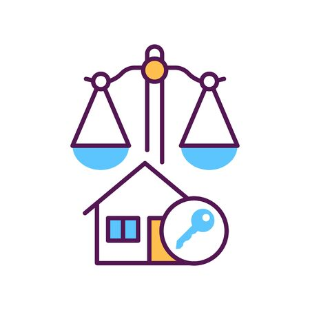 Arbitration court line color icon. Business property concept. Real estate law element.