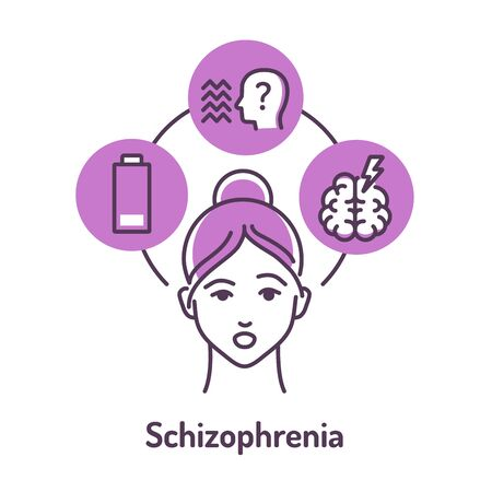 Schizophrenia color line icon on violet background. Insane person. Mental disorders. Symptoms: fatigue, hallucinations, thinking disorders. Pictogram for web page. Vector isolated illustration.