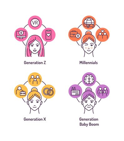 Theory of Generations color line icons set. Genaration Z, Millennials, Genaration X, Baby boom. Age categories: girl, teenager, woman, grandmother. Pictogram for web page, mobile app.