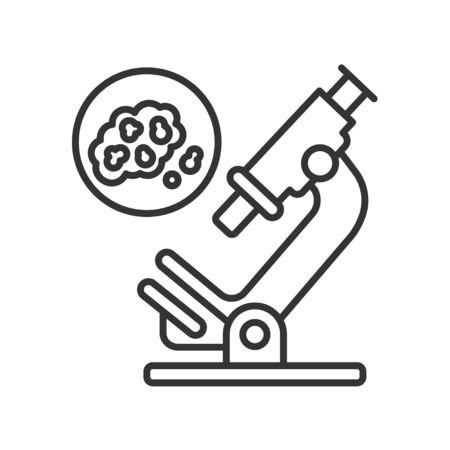 Détection des cellules cancéreuses par l'icône noire de la ligne d'analyse. Concept de recherche médicale en oncologie.