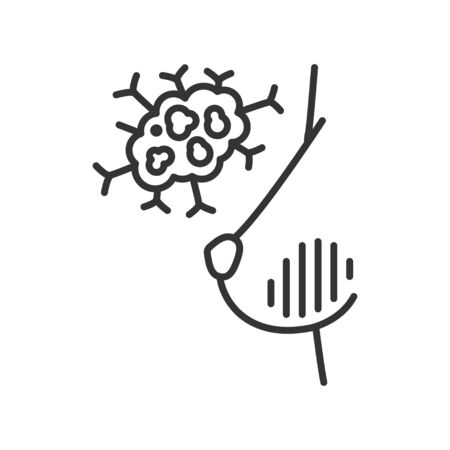 Breast cancer line black icon. Human organ concept. Malignant neoplasm. Illustration