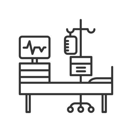 Chemotherapy line black icon. Hospital ward, intensive therapy. Medical treatment. Palliative care. Illusztráció