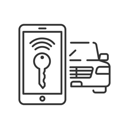 Smart car wireless key color line icon. Smartphone screen application for autonomous vehicle. Personal assistant and control, security. Pictogram for web page, mobile app. UI UX GUI design element.