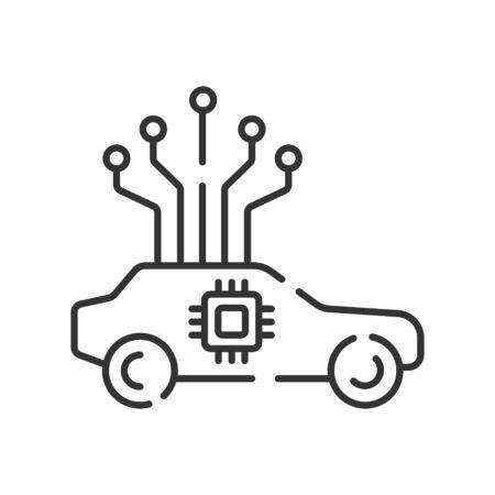 Fully autonomous car color line icon. Self driving concept. Artificial intelligence technology. Driver less auto. Pictogram for web page, mobile app, promo. UI UX GUI design element. Editable stroke.
