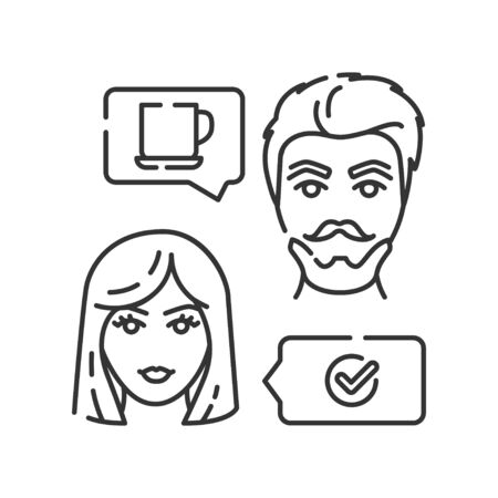 Live meet black line icon. First date concept. Enjoying free time together. Sign for web page, mobile app. UI UX GUI template. Editable stroke.
