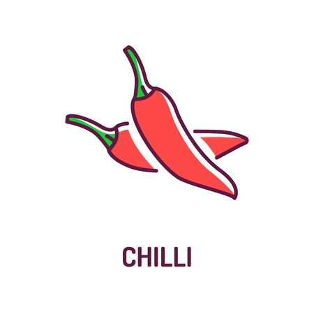 Chilli red pepper color line icon. Paprika. Hot spices product sign. Natural vegetable. Mexican food concept. Cooking ingredient. Design element. Editable stroke Foto de archivo - 134578674