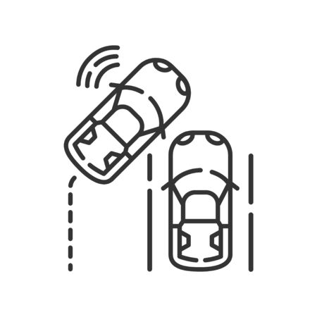 Emergency brake assist color line icon. Safety distance. Collision warning concept. Driverless auto. Pictogram for web page, mobile app, promo. UI UX GUI design element. Editable stroke.