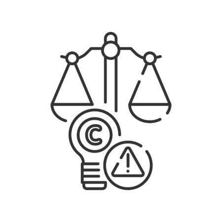 Arbitration court line black icon. Intellectual property infringement concept. Copyright law element.  イラスト・ベクター素材