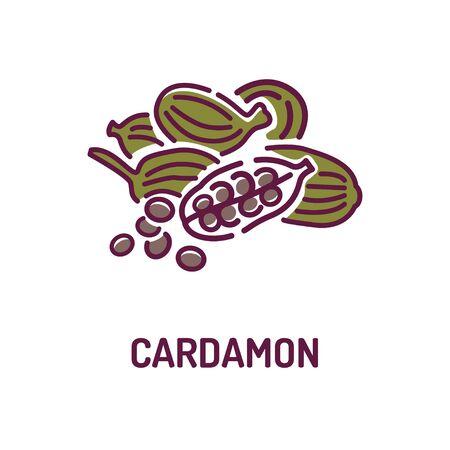 Cardamon seeds color line icon. Spices product. Cooking ingredient. Pictogram for web page, mobile app, promo. UI UX GUI design element. Foto de archivo - 134583098