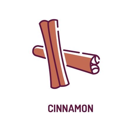 Rolled sticks of cinnamon color line icon. Spices product. Cooking ingredient. Pictogram for web page, mobile app, promo. UI UX GUI design element. Foto de archivo - 134583099