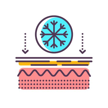 Effects on the skin of the cold line color icon. Frostbite of the skin. Skin care. Sign for web page, mobile app