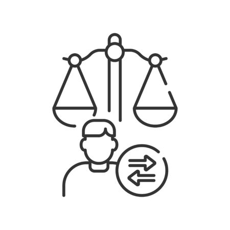 Child custody line black icon. Judiciary concept. Separation agreement, adoption. Family law. Illustration