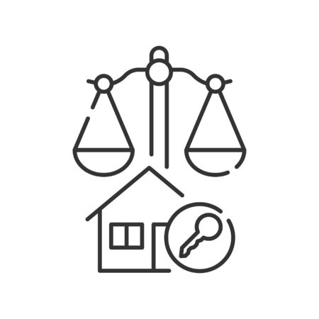 Arbitration court line black icon. Business property concept. Real estate law element. Sign for web page, mobile app
