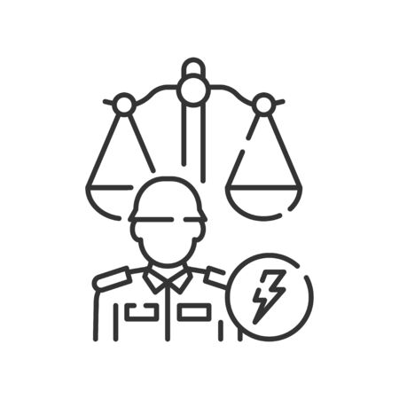 Military court line black icon. Judiciary concept. Officer in uniform element.