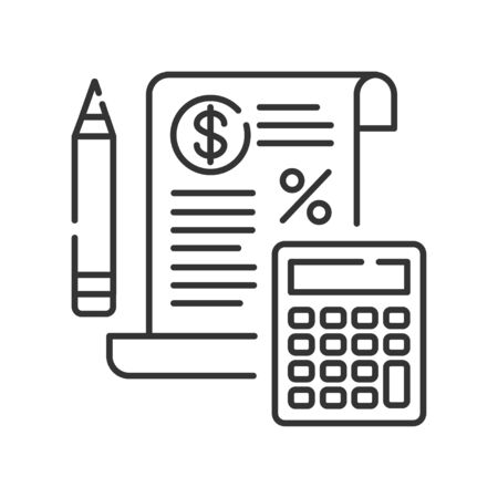 Tax government calculation black line icon. Report and financial statements. Bookkeeping and accounting. Button for web or mobile app. UI UX user interface. Editable stroke.