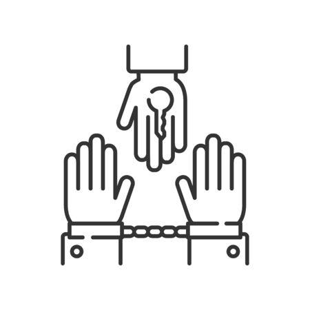 Criminal court line black icon. Judicial verdict innocent. Convicted man in handcuffs concept. Law justice. Banco de Imagens