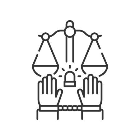 Criminal court line color icon. Convicted man in handcuffs concept. Law justice. Banco de Imagens