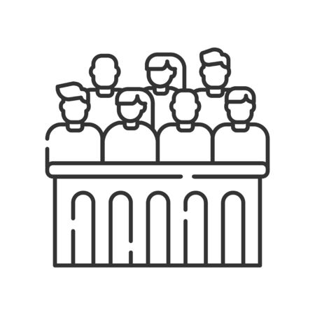 Jury trial line black icon. Courthouse concept. decision on a disputed issue in a civil or criminal case or an inquest. Illustration