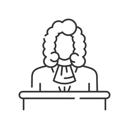 Judge line black icon. Courthouse concept. Law and justice profession.