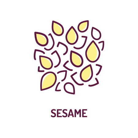 Sesame seeds color line icon. Spices, seasoning. Cooking ingredient. Pictogram for web page