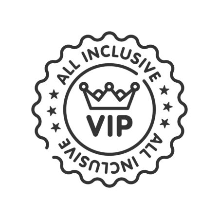 All inclusive sticker line black icon. Vip membership. Exclusive offer from travel agency. Sign for web page, mobile app, button. Vector isolated button. Editable stroke.
