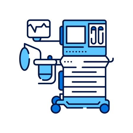 Anesthesia machine line color icon. Equipment for medical surgery concept. Sign for web page, mobile app. Vector isolated element. Editable stroke. Illustration
