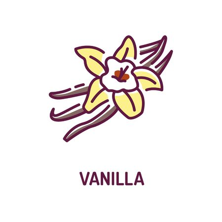 Vanilla pods and flower with caption color line icon. Spices, seasoning. Cooking ingredient. Pictogram for web page, mobile app, promo.