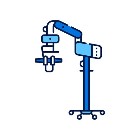 Operating microscope line color icon. Dentistry, ENT surgery, ophthalmic and neurosurgery, plastic surgery. concept. Healthcare and treatment. Sign for web page, mobile app. Vector isolated element.