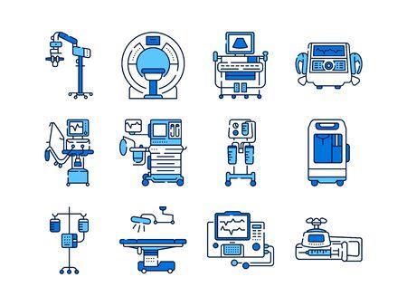 Conjunto de iconos de color de línea de dispositivos médicos. MRI, máquina de anestesia, bomba de jeringa, gotero, desfibrilador, letreros para página web, aplicación móvil. Vector elementos aislados. Trazo editable.