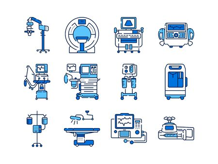 Medical devices line color icons set. MRI, anesthesia machine, syringe pump, dropper, defibrillator, Signs for web page, mobile app. Vector isolated elements. Editable stroke.