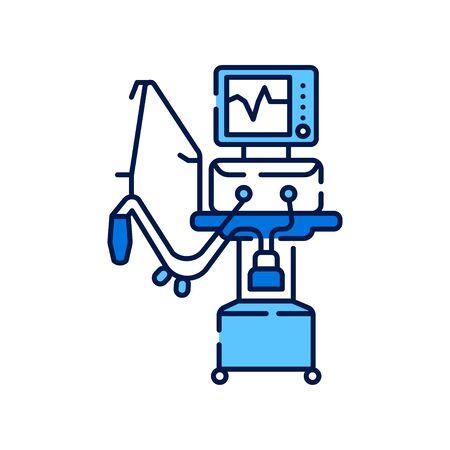 Farbsymbol für medizinische Beatmungsgeräte. Künstliche Beatmung des Lungenkonzepts. Melden Sie sich für Webseite, mobile App an. Vektor isoliertes Element. Bearbeitbarer Strich. Vektorgrafik