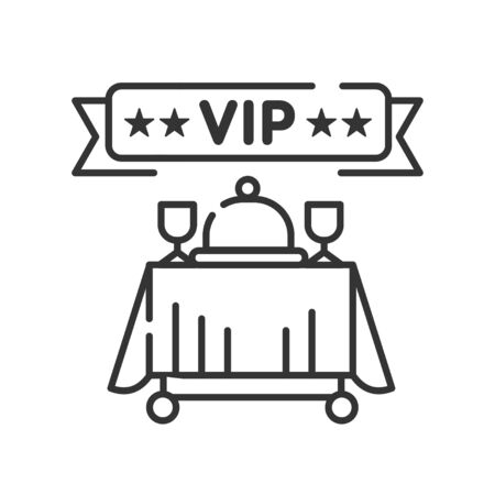 Vip restaurant line black icon. Gourmet restaurant, prestigious party service. Luxury reception food and drinks.