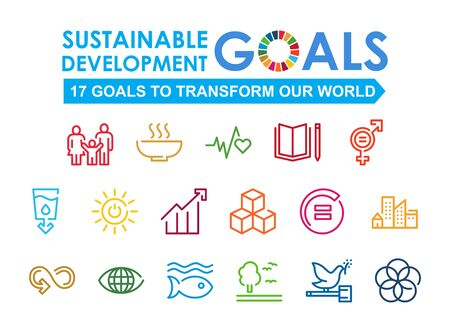 Signo de responsabilidad social corporativa. Ilustración de vector de objetivos de desarrollo sostenible. Signos de los ODS. Pictograma para publicidad, web, aplicación móvil, promoción. Elemento de diseño UI UX. Ilustración de vector