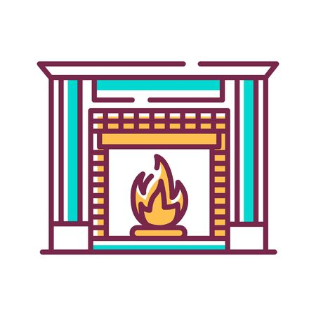 Fireplace color line icon. Structure made of brick, stone or metal designed to contain a fire. Used for the relaxing ambiance Pictogram for web page. UI UX GUI design element. Editable stroke. Stock Illustratie